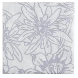 Serviettes en papier Fleurs des Alpes blanc