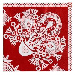 Serviettes en papier Fleurs rouge
